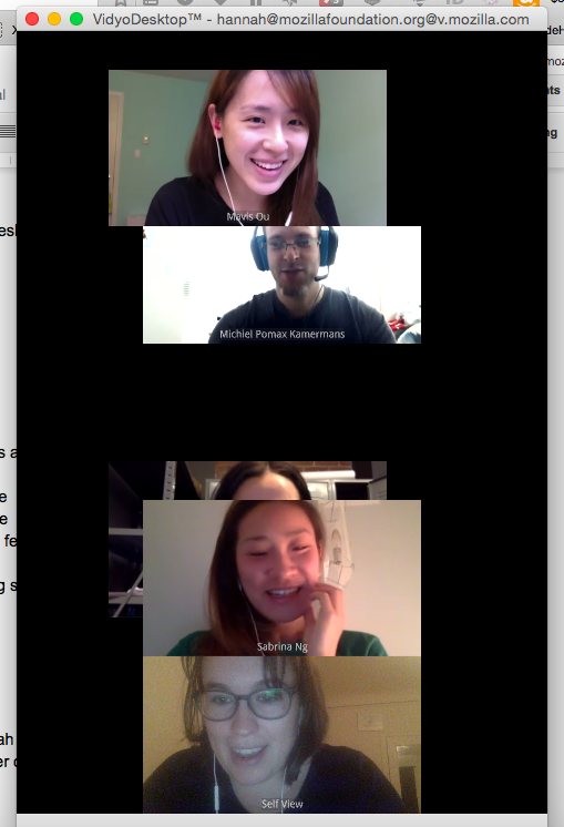 Vidyo weirdness with the new team! Why is Kristina covered by Sabrina?