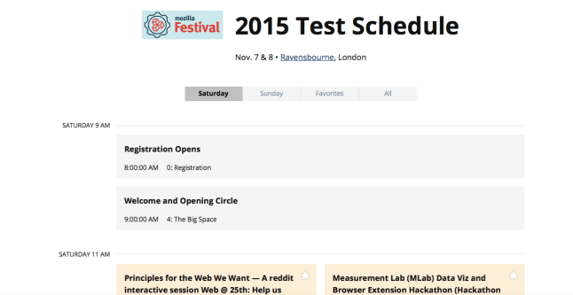 Sneak Peek of the MozFest schedule app